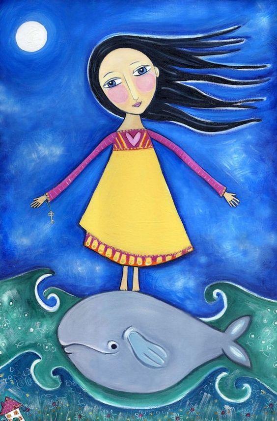 Chica con ballena lámina Whimsical arte popular por LindyLonghurst