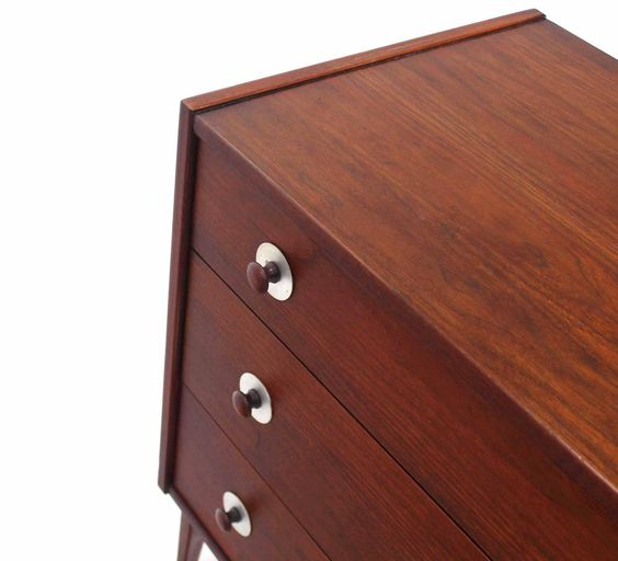Three-Drawer Danish Modern Walnut Bachelor Chest | From a unique collection of antique and modern commodes and chests of drawers at https://www.1stdibs.com/furniture/storage-case-pieces/commodes-chests-of-drawers/