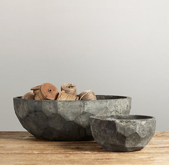 "Sculptural Stone Vessel Faceted Bowl Collection  Hand-cast from resin and cement, with simple, sculptural silhouettes and the character of weathered stone, these vessels make compelling accents, solo or grouped.   Not food-safe.  Small Bowl: 15""W x 8½""D x 7""H; 8.5 lbs.   Large Bowl: 24"" diam. x 8""H; 59.4 lbs."