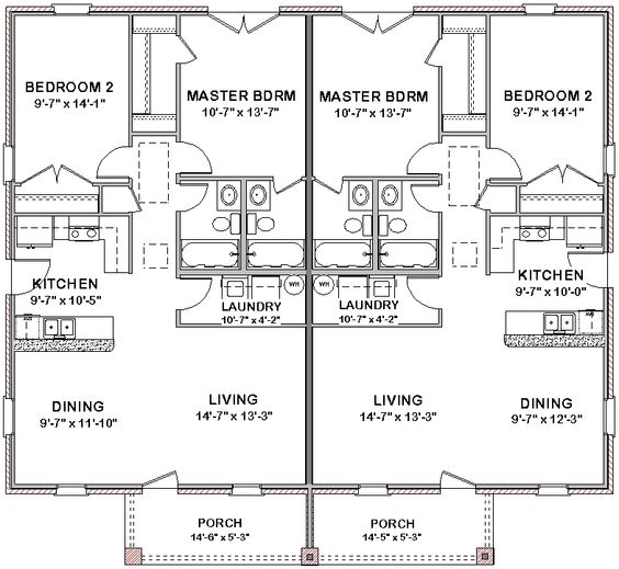 duplex house plans full floor plan 2 bed + 2 bath | duplex house