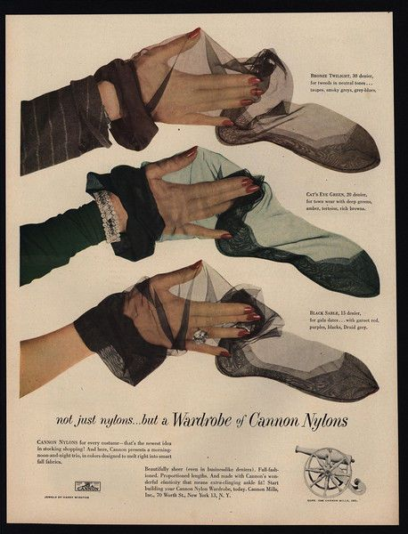1948 CANNON Nylon Stockings - Not Just A Wardrobe - Black - Bronze - VINTAGE AD