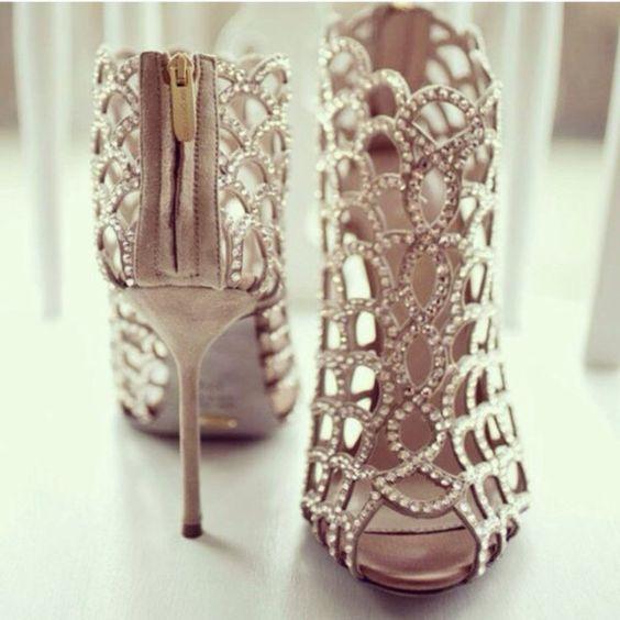 Shoes: heels silver heels diamond heels sparkly heels prom prom ...