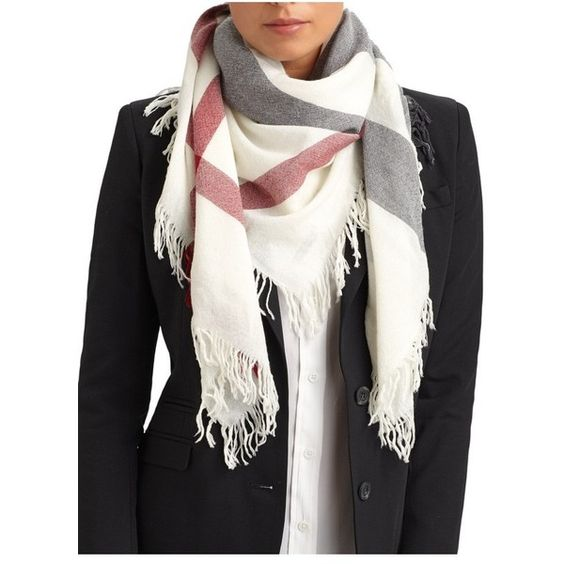 Burberry Color Check Square Scarf ($277) ❤ liked on Polyvore featuring accessories, scarves, ivory, ivory shawl, burberry scarves, square scarves, fringe shawl and burberry shawl