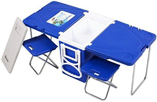 Amazon Com Giantex Multi Function Rolling Cooler Picnic Camping Outdoor W Table 2 Chairs Blue Kitch Camping Picnic Table Picnic Table Cooler Cooler Chairs