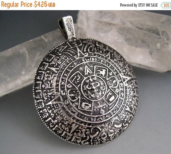 SALE 45mm Mykonos Mayan Calendar Pendant Greek Dark Antiqued Pewter Silver Patina Naos by Na0sGlass on Etsy https://www.etsy.com/listing/213752972/sale-45mm-mykonos-mayan-calendar-pendant