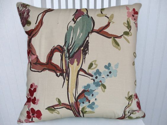 Bird Decorative Pillow Cover- 18x18 or 20x20 or 22x22 Duralee Throw Pillow- Accent Pillow