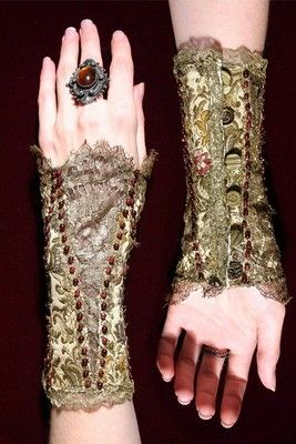 Etsy :: Queen Elizabeths Beaded Lace Arm Corset Cuff with Victorian Brass Buttons