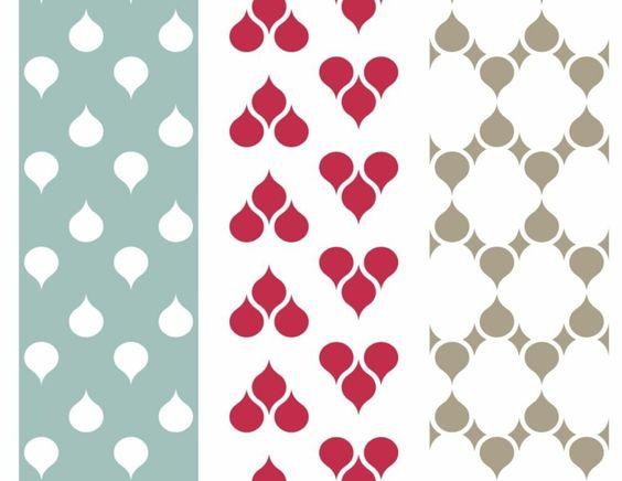 papier peint personnalisé à motifs blancs, rouges et beiges - design par Znak