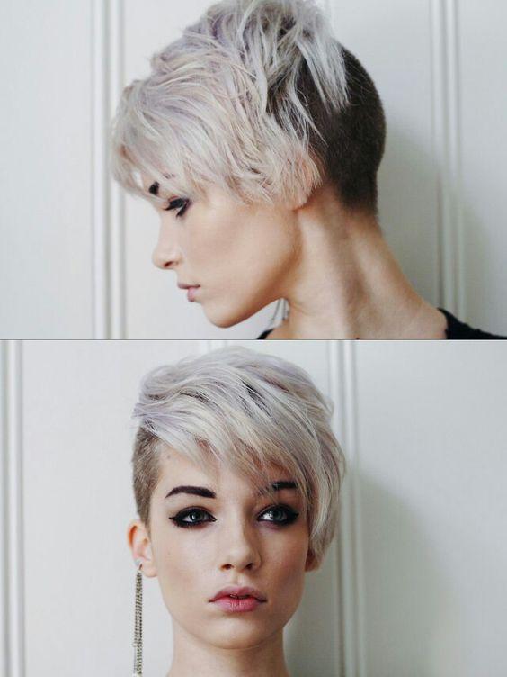30 Chic Pixie Haircuts Easy Short Hairstyle. Silver, undercut, asymmetric
