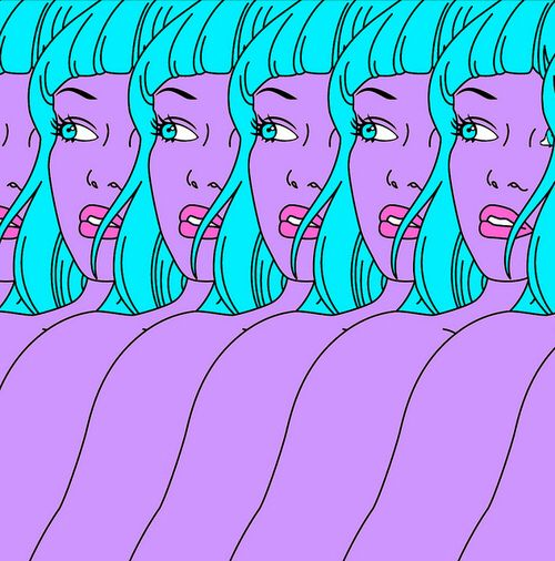 aesthetic, alien, girl, grunge, hipster, purple, trippy, tumblr, turquoise, First Set on Favim.com