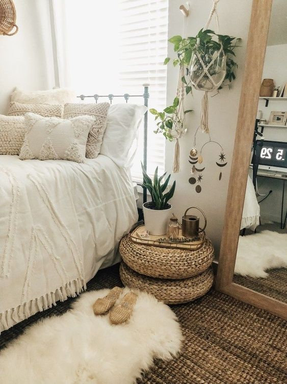 all white bedroom, boho room, home decor