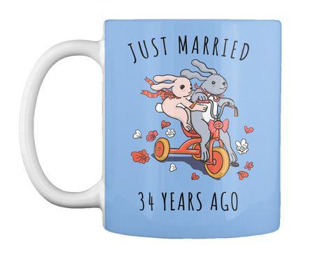 Just Married 34 Years Ago Cute Bunny Tee Powder Blue Mug Front
