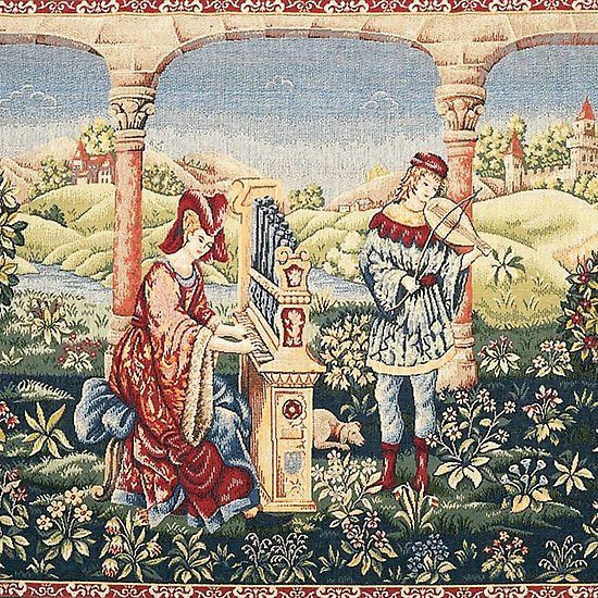 Medieval Music In Court Garden And Landscape Antique Tapestry Medieval Music Musicians Tapestry Homedec Tapestry Wall Art Medieval Tapestry Medieval Music