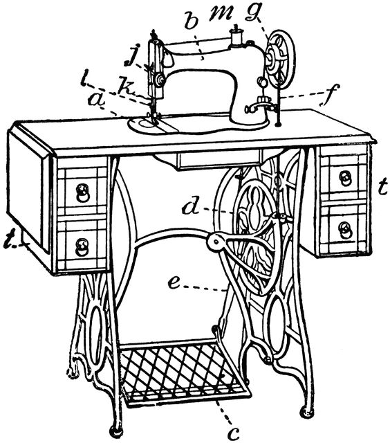 Old School Sewing Machine Coloring Pages