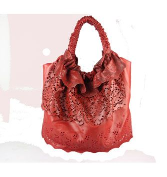 Good Quality Knockoff Valentino Laser-cut Leather Large Shoulder Bag