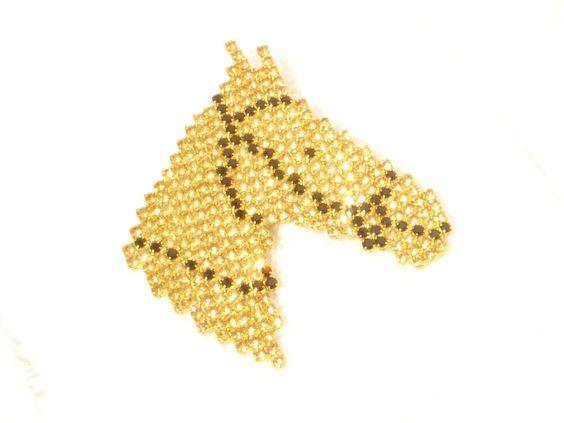 Dorothy Bauer Gold Aurum and Black Rhinestone Large Horse Head Figural Brooch #DorothyBauer