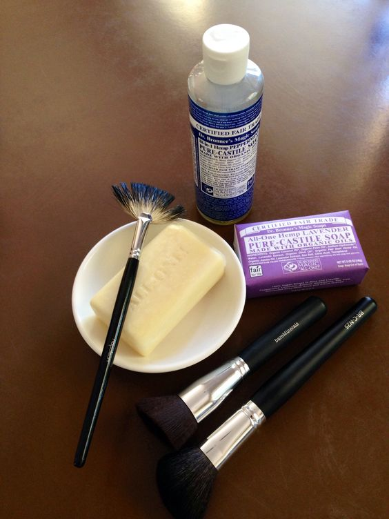 Dr Bronners Castille Soap Bar - nothing cleans makeup brushes effortlessly and thoroughly like this soap does.  Nothing!