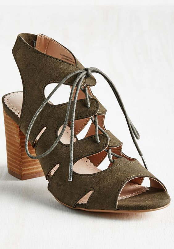 Sassy and Scrappy Heel. Youre a one-woman team, and in these Restricted peep toes, you sure dress like it! #green #modcloth