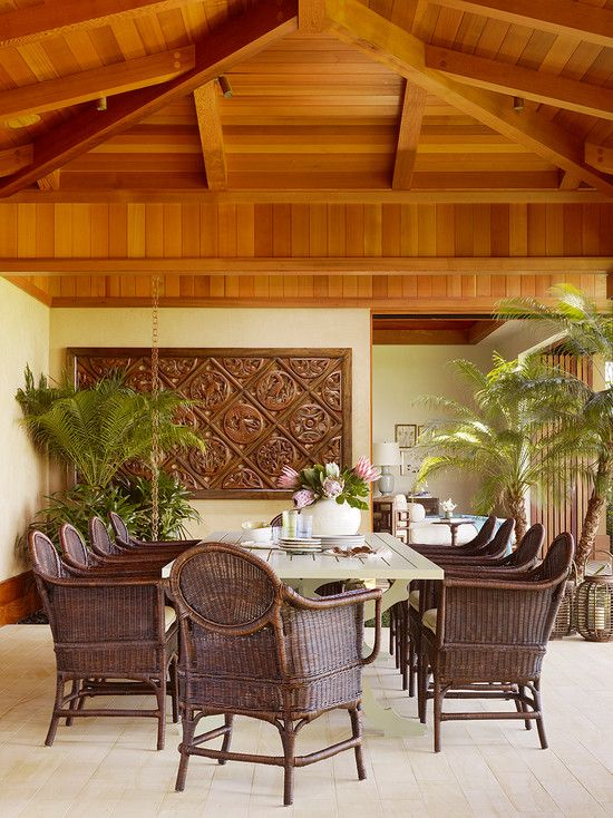 Tropical dining room design pictures remodel decor and for Tropical dining room ideas