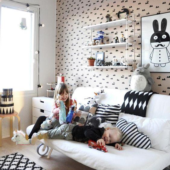 Shelves STRING - ferm LIVING Kids Rose Rabbit Wallpaper: http://www.fermliving.com/webshop/shop/all-products/rabbit-wallpaper-rose.aspx