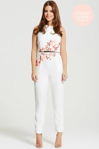 White Embroidered Tailored Jumpsuit