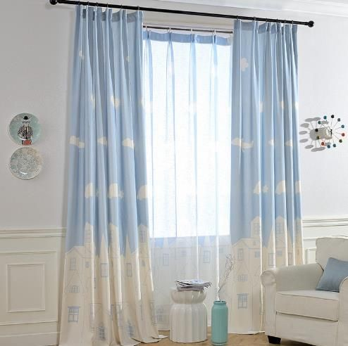 Cute Baby White Light Blue Cloud Nursery Curtains For Kids