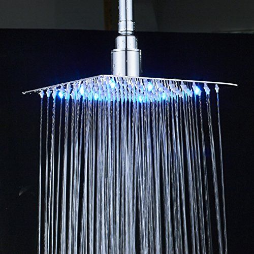 Rozin Bathroom Replacement Led Light Shower Head 8 Inch Square Top Rainfall Spray Chrome Finish Best Shower Heads Bathroom Shower Heads Shower Heads Led Lights
