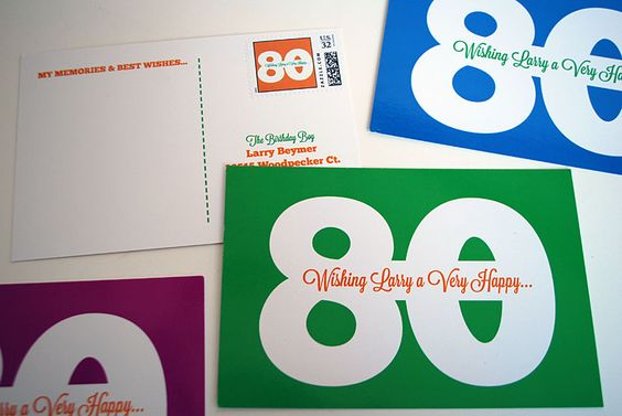 My dad's 80th birthday was approaching and we wanted a milestone birthday idea that was memorable and fun. And what's better than a mailbox stuffed with personalized postcards sending well wishes from your family and friends? I designed these 80th birthday postcards in four colors with super cute