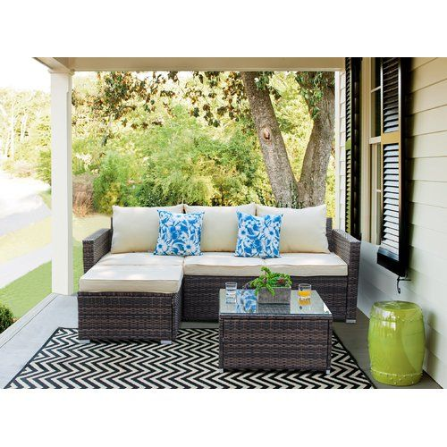Outdoor Sectional Sofa, Patio Furniture 3 Piece Sectional Sofa Resin Wicker Beige