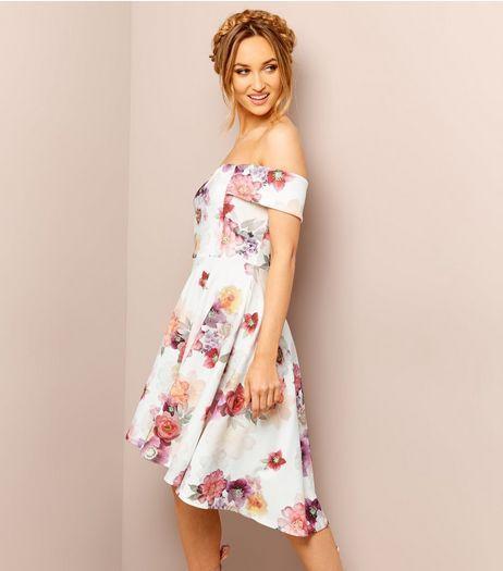 White Floral Print Bardot Neck Dress | New Look