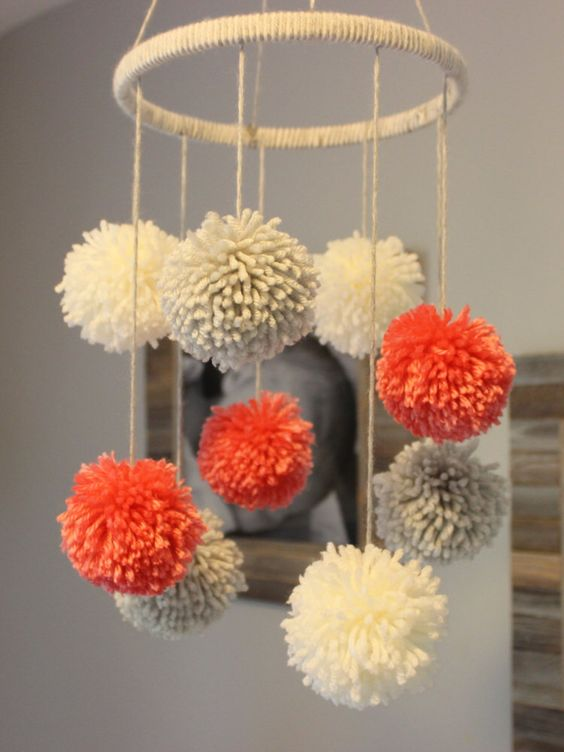 Pom Pom Mobile by PreciousPoms on Etsy https://www.etsy.com/listing/250662573/pom-pom-mobile