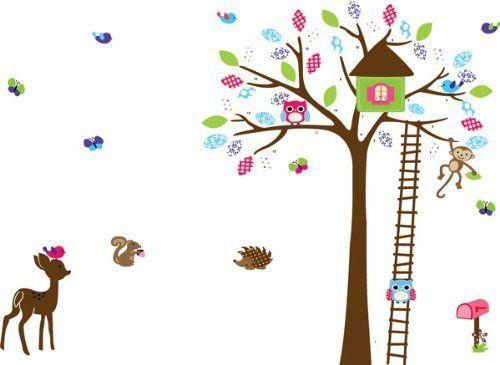 Ufingodeco casa de rbol de dibujos animados y peque o for Pegatinas pared arbol infantil