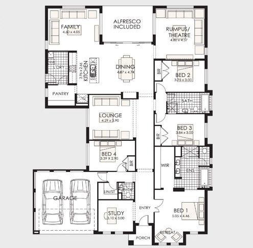 Plano de casa de un piso con frente amplio casitas for Planos de casas de un piso