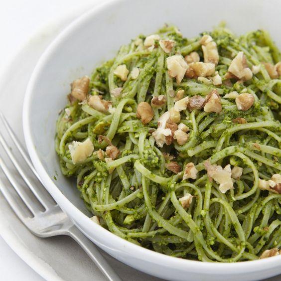 Gluten-Free Pasta With Spinach & Walnut Pesto   sheerluxe.com