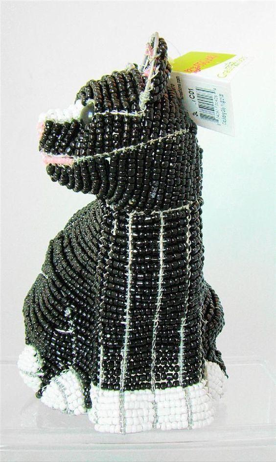 Cat Kitten Black White Tuxedo Wire Glass Beads Sculpture Figure Beadworx New   eBay