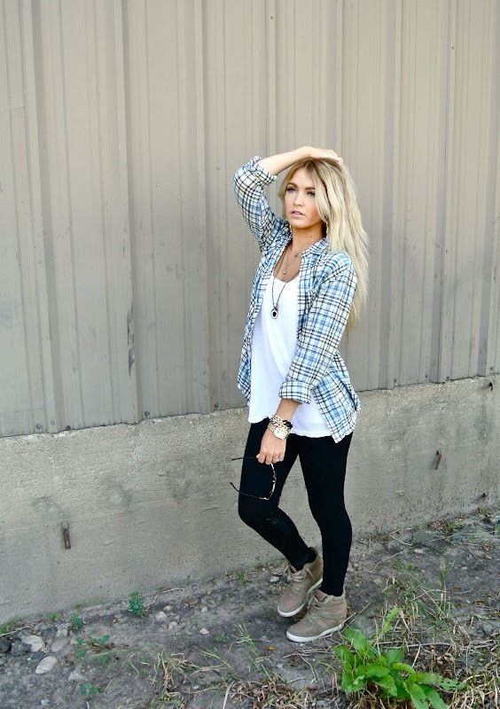Spring Outfit - White top, black jeans, flannel & sneaker wedges ...