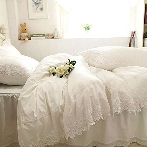 Winlife White Ruffle And Lace Bedding Fairy Girls Pure Cotton Duvet Cover Ruffle Duvet Cover Lace Bedding Lace Bedding Set