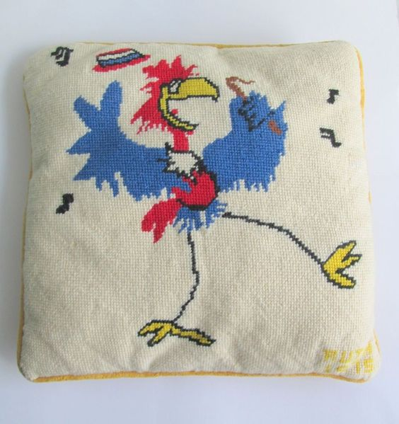 Needlepoint Pillow Decoration Perhaps Crossword : Crazy Chicken Vintage Kitsch Needlepoint 1970s Decorative Craft Handmade Pillow Rochellesells ...