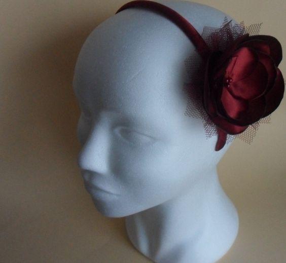 16,-  //  Haarreif  Bordeaux Farbe Haarblume von Cosara auf DaWanda.com