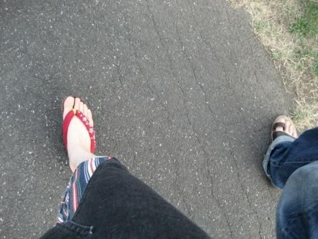 my husband and I taking a walk