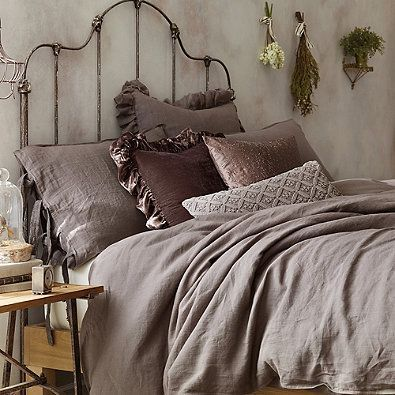 Wamsutta Vintage Raw Edge Linen Gauze European Pillow Sham In Raisin Bedroom Vintage Luxury Bedding Bedroom Design