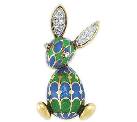 Gold, Green and Blue Enamel and Diamond Rabbit Brooch, Van Cleef & Arpels 14 kt., signed V.C.A. New York, ap. 9.5 dwt.