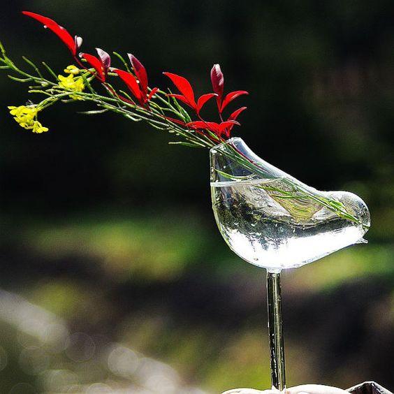 Creative Little Bird Shape High Foot Glass Vase for by VaporFan