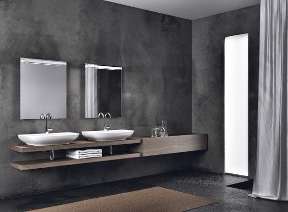 Wanden Van Hout : houten vloer in badkamer en donkere wanden Door ...
