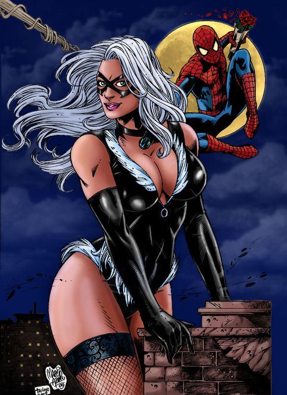 black cat busty figure spiderman