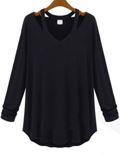 Shop V Neck Long Sleeve Hollow Black T-shirt online. SheIn offers V Neck Long Sleeve Hollow Black T-shirt & more to fit your fashionable needs.