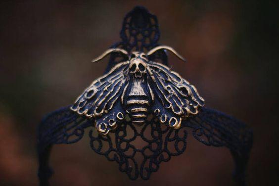 Gothic Headdress Queen of Shadows  Moth and von AncientHeartsShop