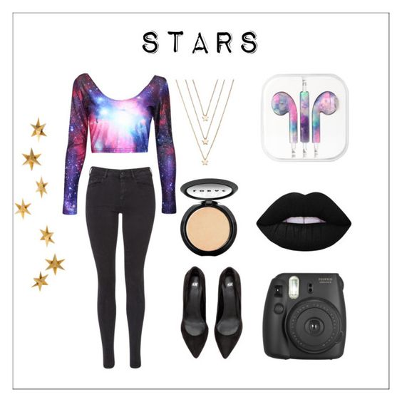 """""""Inspired by Augusts meteor showers"""" by mika-bunny ❤ liked on Polyvore featuring Maison Scotch, Livingly, LC Lauren Conrad, LORAC, Lime Crime and Fujifilm"""