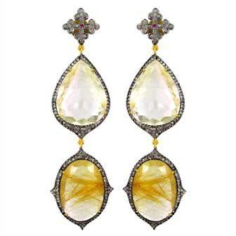 Shay 3 Tier Rutulated Quartz Diamond Earrings