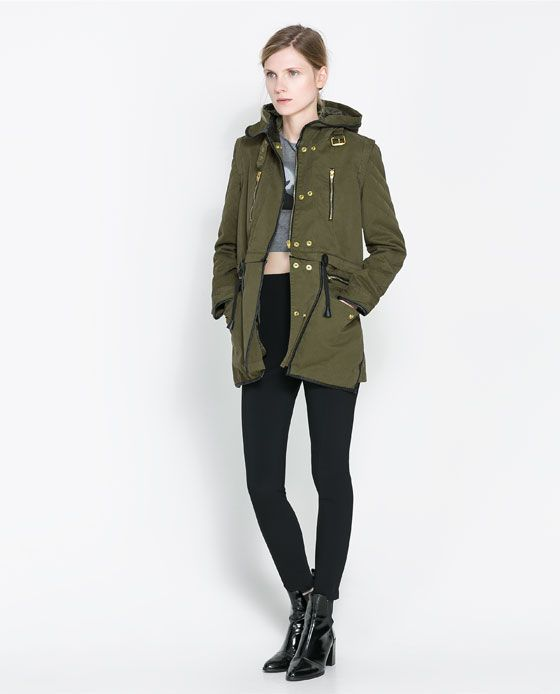 Military-inspired olive green PARKA jacket from Zara fall